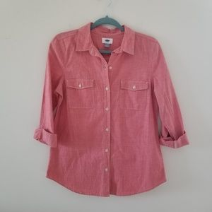 Old Navy S Womens Red Chambray Shirt Long Sleeve